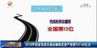 2018年甘肃省完成交通运输固定资产投资727.43亿元 - 甘肃省广播电影电视